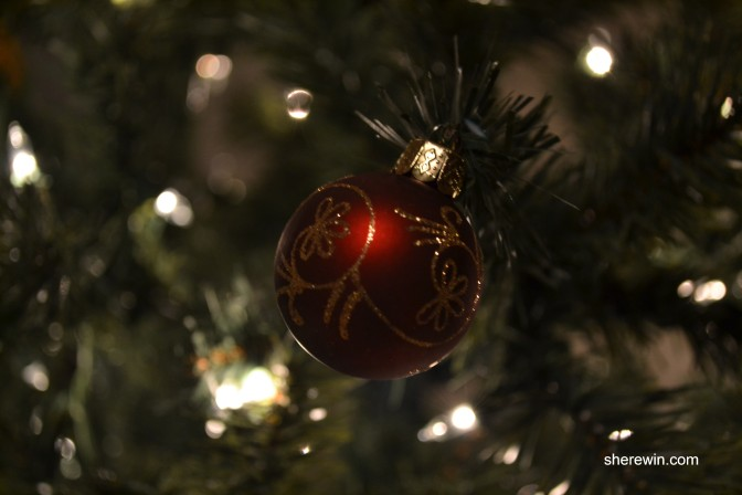 artful photo of ornament (set again obviously plastic tree backdrop)